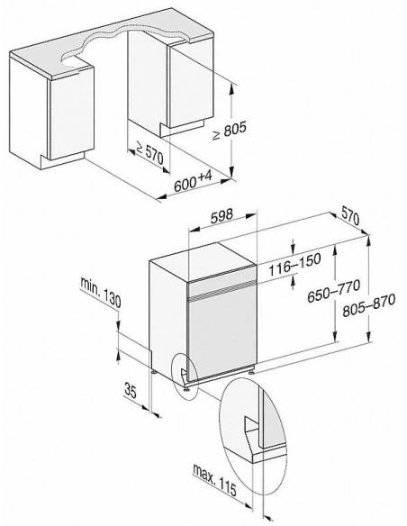 Miele G 17100-60 i SPECIAL PLUS blanc - dimensions