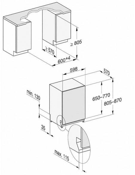 Miele G 17360-60 SCVi AutoDos - dimensions