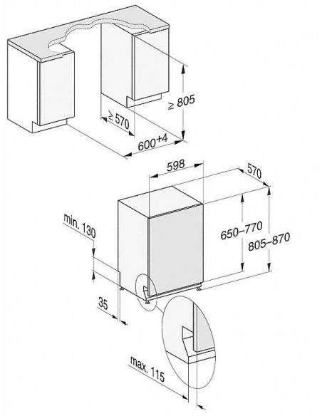 Miele G 17150-60 Vi - dimensions