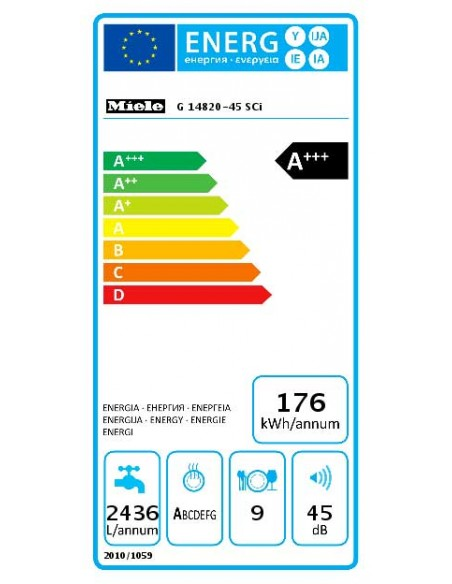 Miele G 14820-45 SCi blanc - consommation