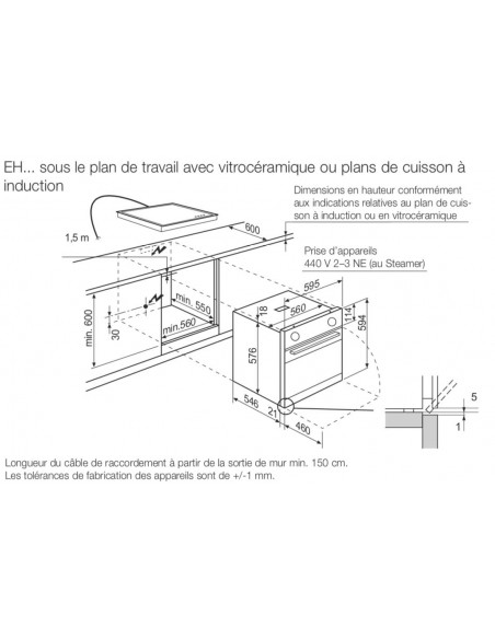 AEG EHBW blanc - dimensions